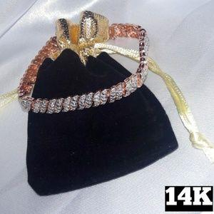Genuine 14K Rose Gold Diamond Bracelet